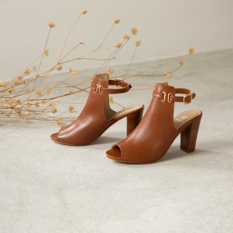 Heeled Sandals : La Tétue - Cognac