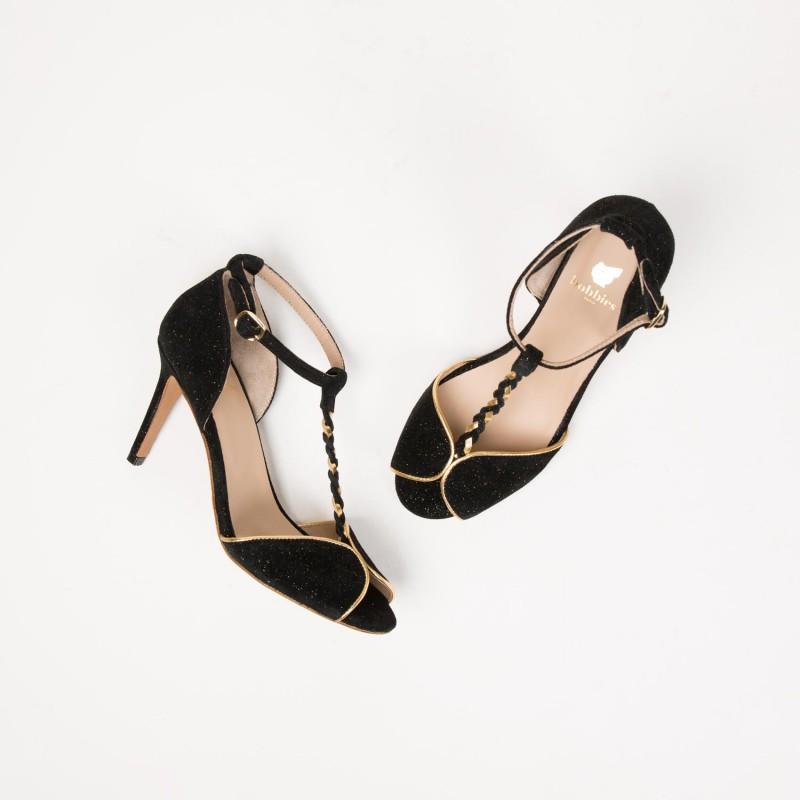 Sandales à Talon : La Glorieuse - Noir Étoilé