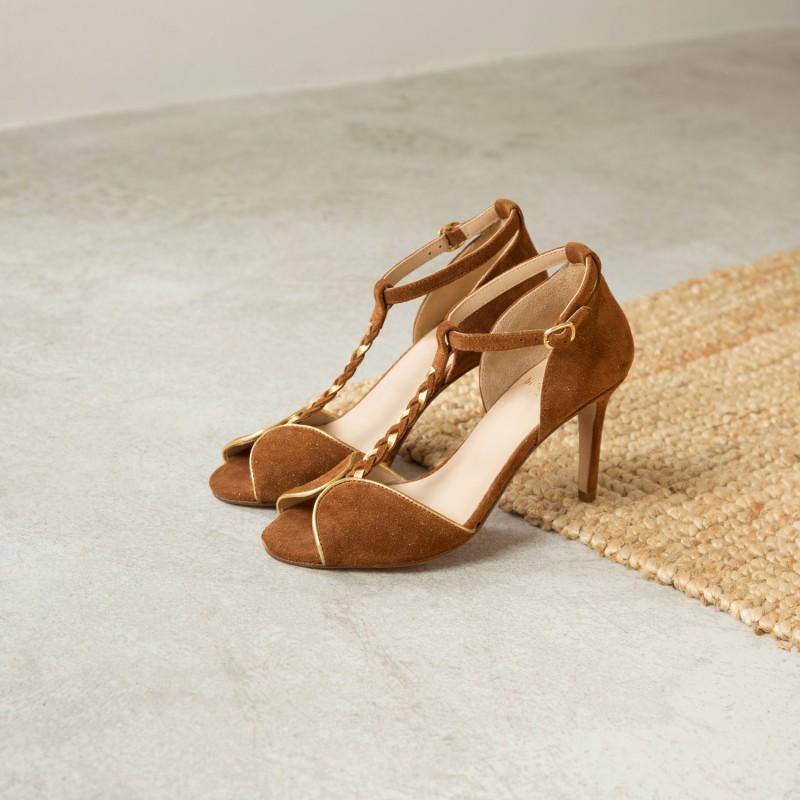 Sandales à Talon : La Glorieuse - Fauve Étoilé