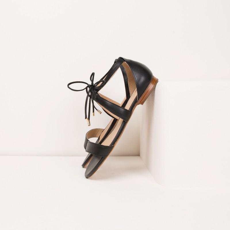 Sandales Plates : L'Aphrodite - Noir Ébène