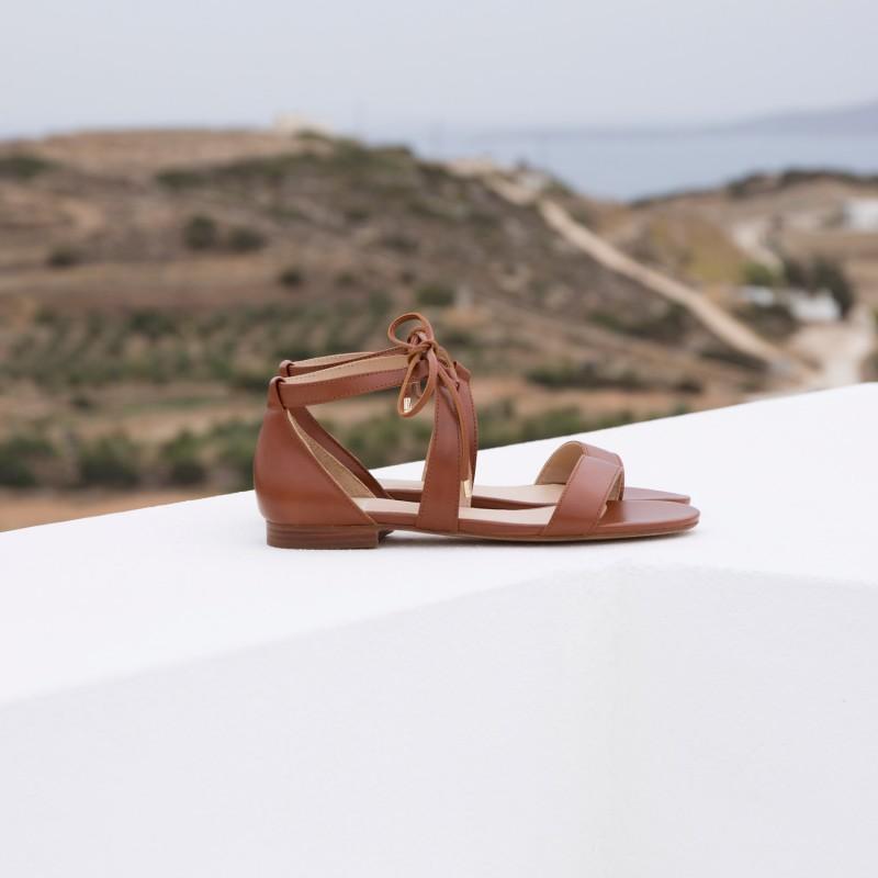 Sandales Plates : L'Aphrodite - Cognac