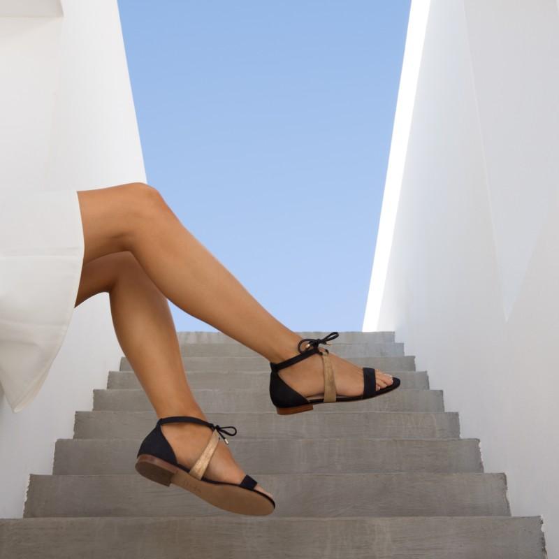 Sandales Plates : L'Aphrodite - Bleu Marine