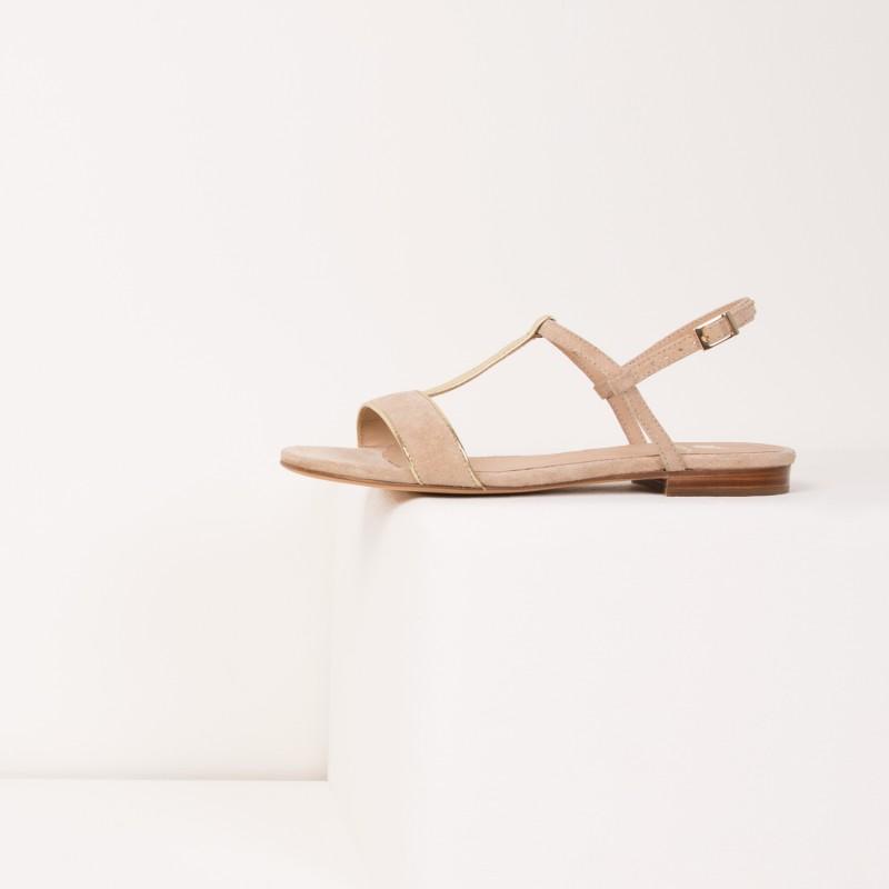 Sandales Plates : L'Exquise - Sable Étoilé