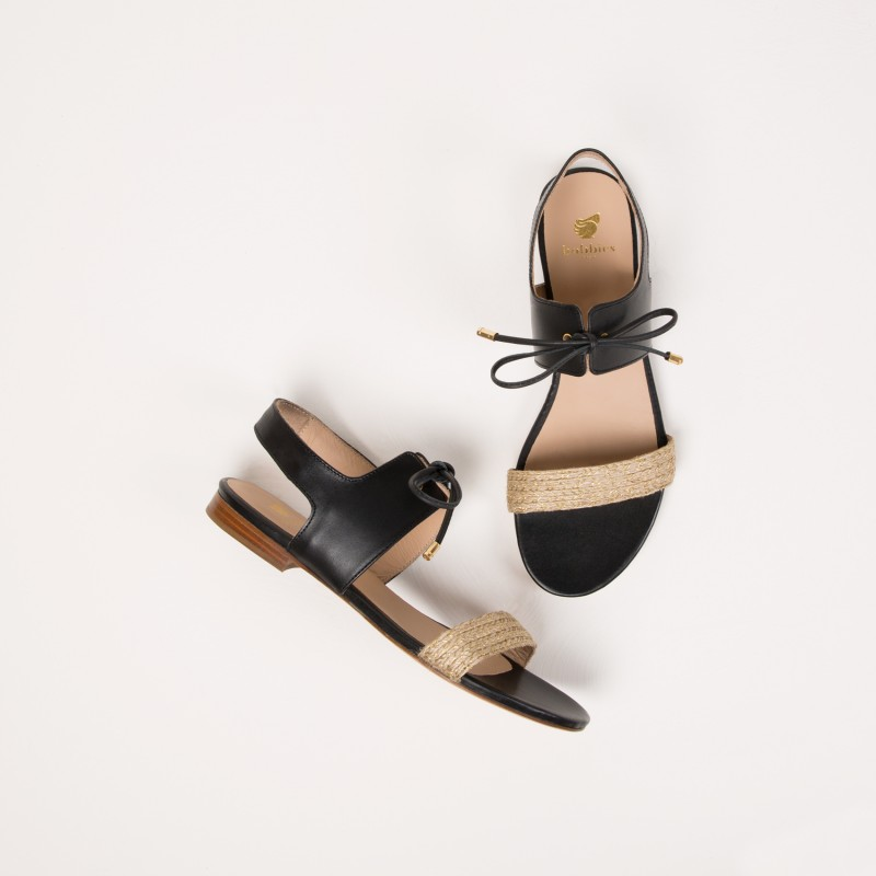 Sandales Plates : La Friponne - Noir Ébène
