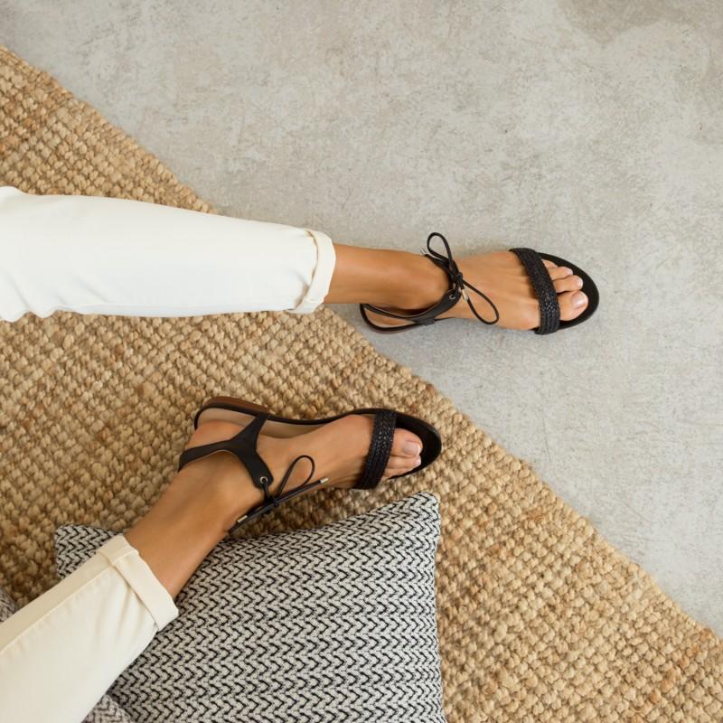 Sandales Plates : La Conquise - Noir Ébène
