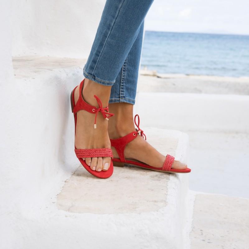 Sandales Plates : La Conquise - Rouge Andalou