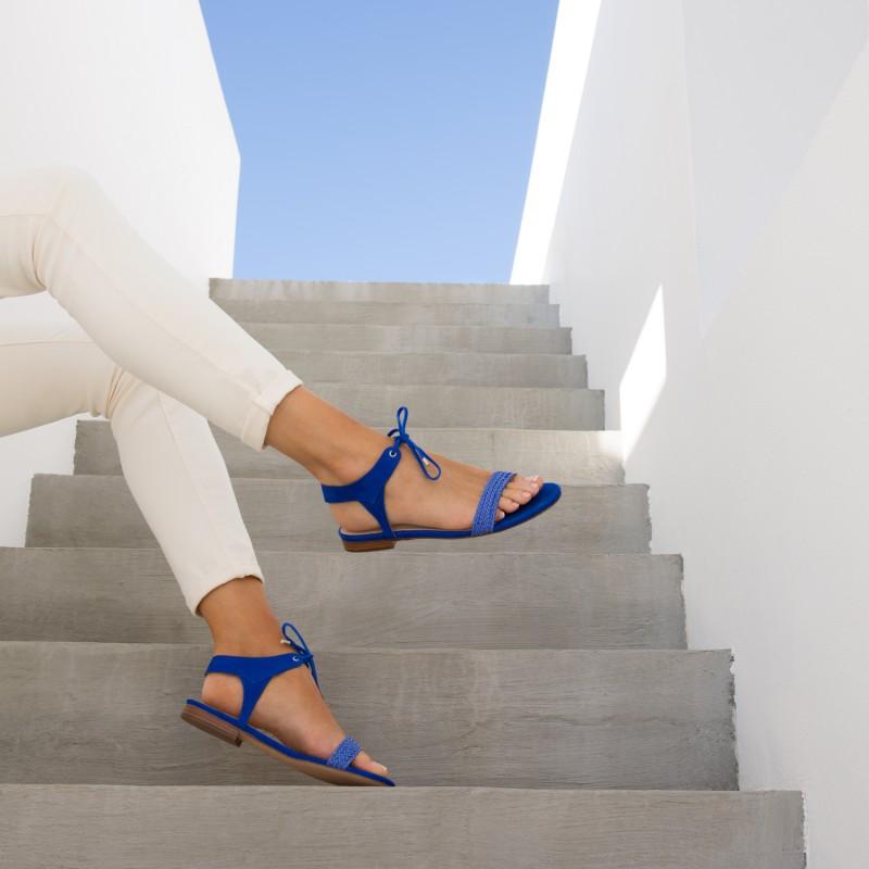 Sandales Plates : La Conquise - Bleu Aztek