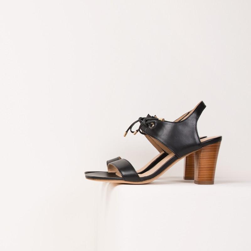Sandales à Talon : La Perchée - Noir Ébène