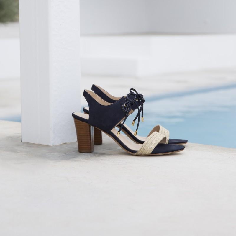 Sandales à Talon : La Perchée - Bleu Marine