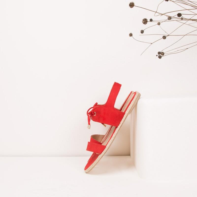Sandales Plates : La Polissonne - Rouge Andalou