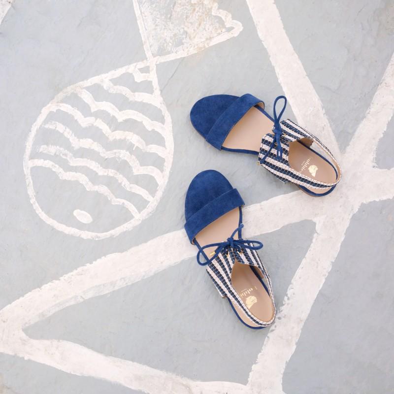 Sandales Plates : L'Enchantée - Bleu Nuit