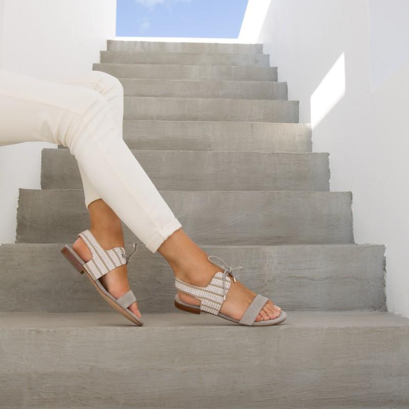 Sandales Plates : L'Enchantée - Gris Nuage