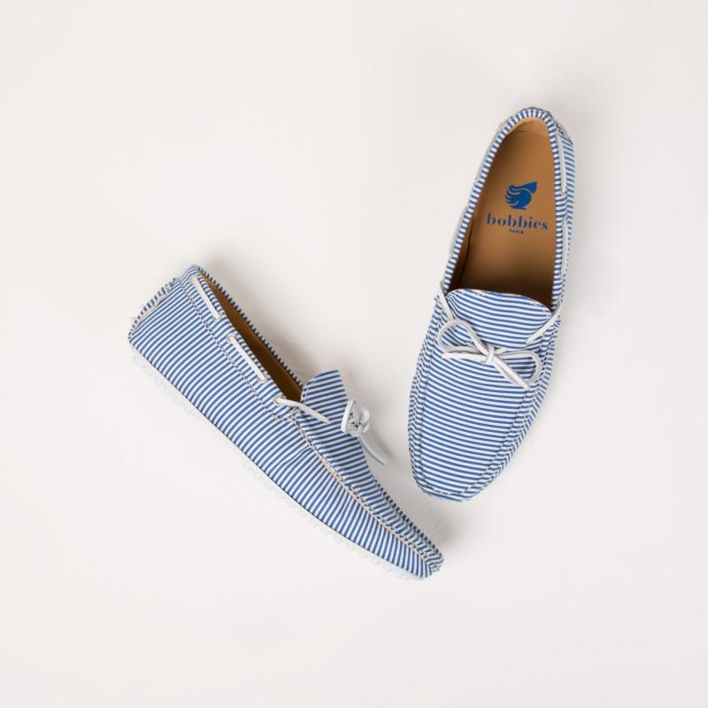 Mocassins : Le Gondolier - Blanc & Bleu