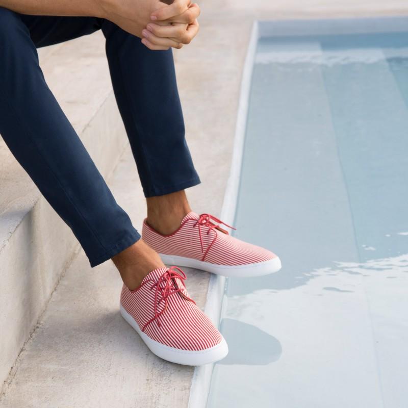 Sneakers : Le Plaisancier - Blanc & Rouge
